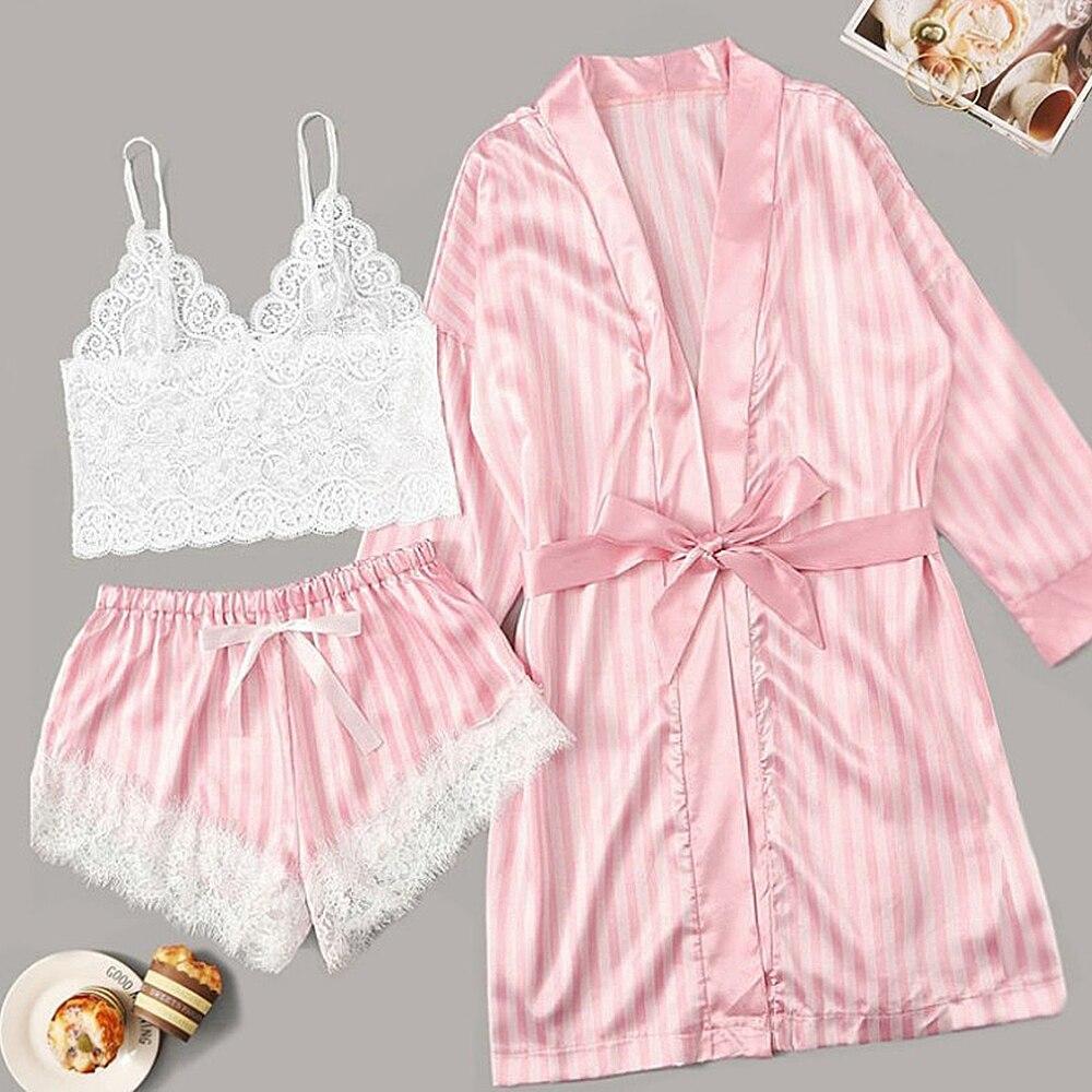 Nuevo Pijama de manga larga de Mujer, lencería Sexy de encaje, ropa interior para dormir, Conjunto de Pijama de 3 piezas, Pijama de Mujer