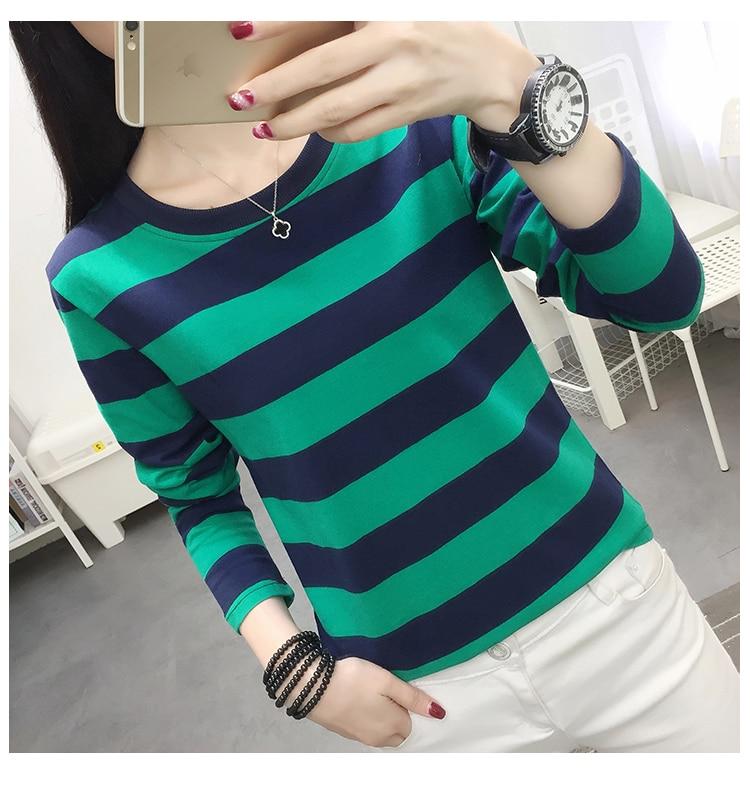 Stripe women long sleeve blouse body whose 2019 new early autumn render unlined upper garment
