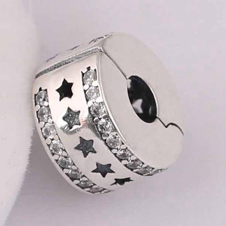 S925 cuentas para bricolaje de joyería formación estrellada topes de Clips encanto ajuste Pandora pulsera brazalete claro CZ estrellas