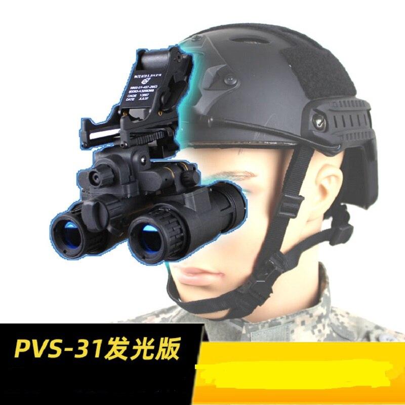 Tactical Airsoft Luminous Version AN/PVS-31 NVG Model + Modified N/PVS-14 Metal Helmet Base
