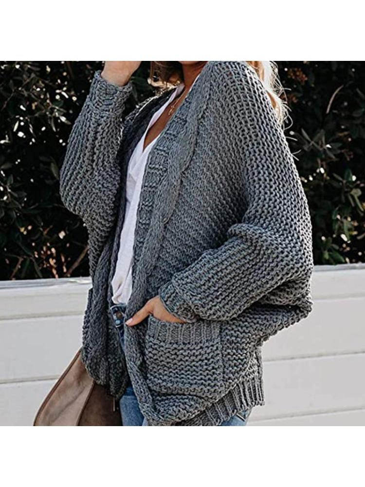 Women Open Front Batwing Sleeve Cardigan Chunky Knit Loose Sweater Coat Pockets enlarge