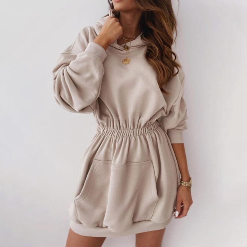 chic hooded long sleeve polka dot pocket design women s hoodie 2020 New Fashion Hoodie Women Sweatshirt Dress Elastic Waist Solid Long Sleeve Pocket Hooded Pullover Women Jumper Pullover