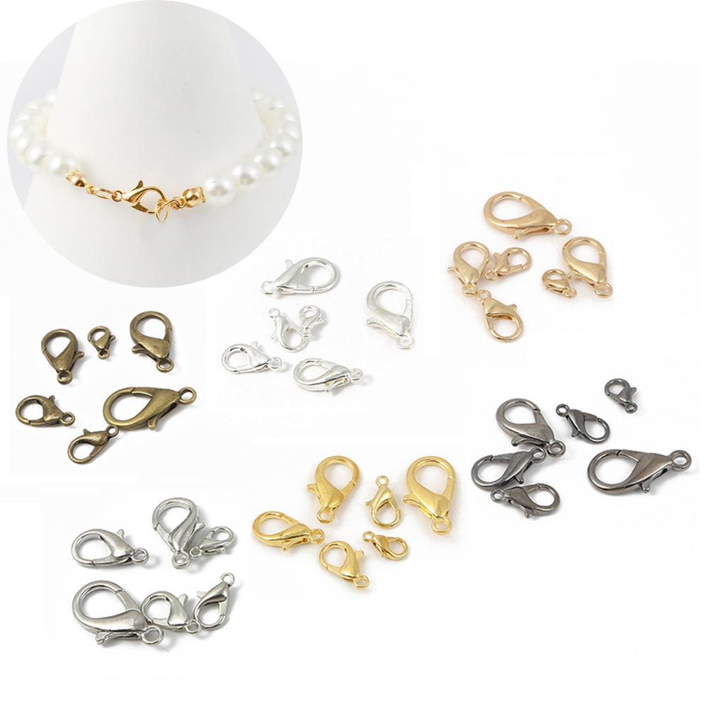 Mix metal lagosta fechos ganchos pulseira colar 10 12 14 16 18 21mm para fazer jóias diy acessórios