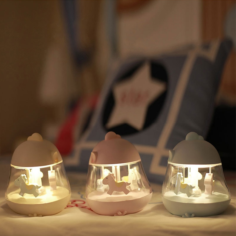 Cute Carousel Night Light music box Led Usb rechargeable Atmosphere 7colour Lamp Lovely light table