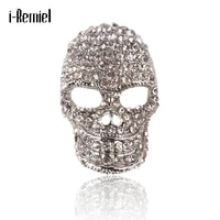 high grade crystal rhinestone skull brooch temperament female male suit coat pin luxury jewelry accessories gifts for women men