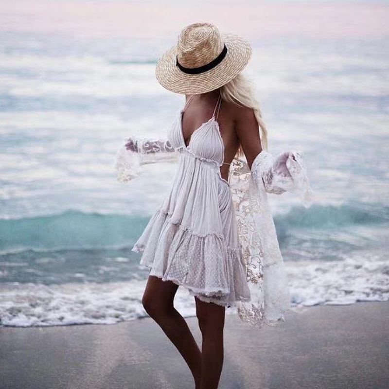 Canwedance-فستان قصير مكشوف الظهر للنساء ، مثير ، دانتيل ، رسن ، ياقة على شكل V ، ميني ، حفلة ، شاطئ ، صيف