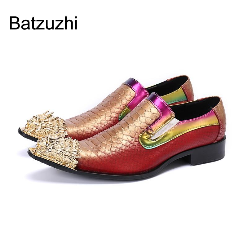 Batzuzhi الايطالية نوع أحذية رجالي الذهبي المعادن تو فستان من الجلد أحذية الرجال الانزلاق على روك أحذية الحفلات والزفاف الرجال ، US6-US12