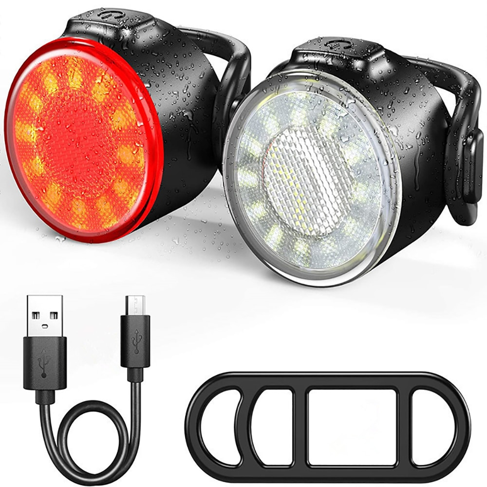 AliExpress - 2 Pcs LED Bicycle Light 800LM Rechargeable Front And Rear Bike Light Set 650mah Lithium Battery 4 Light Mode Options