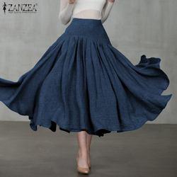 Plus tamanho das mulheres saias plissadas zanzea 2020 elegante primavera sólida sundress casual cintura alta midi vestido feminino com zíper robe 5xl