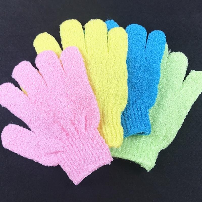 2 PCS Peeling Handschuhe Mitt Bad Dusche Peeling Tan Toten Haut Entfernung Peeling Elastische Fünf-Finger Bad Handschuhe Zufällig farbe
