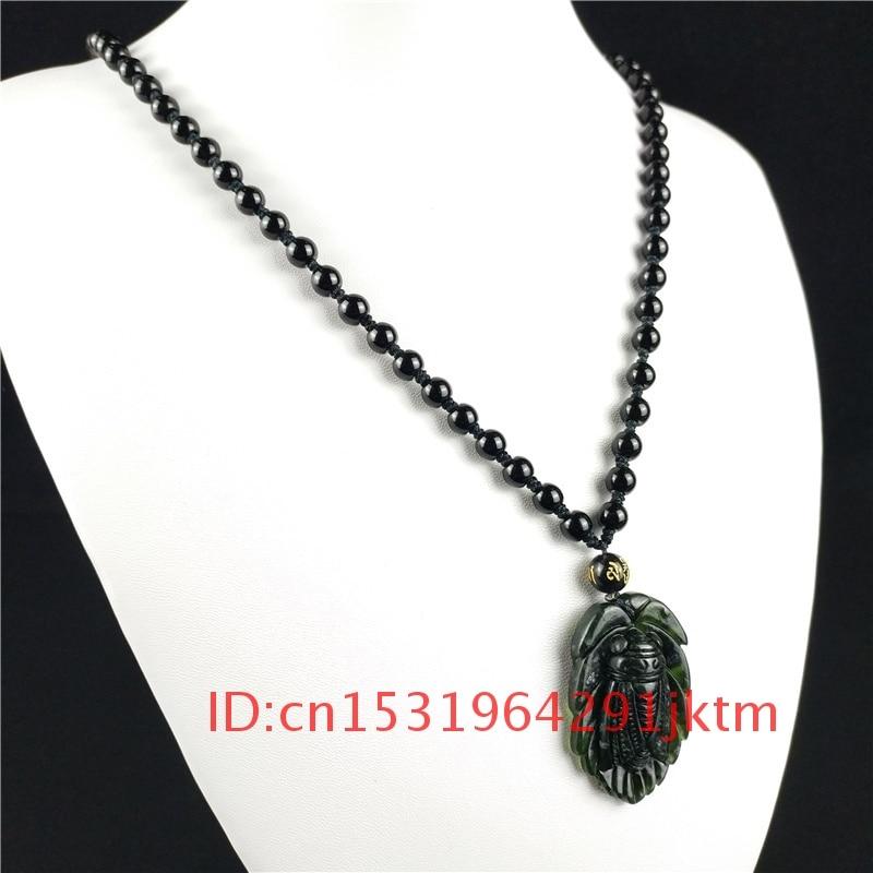 Accesorios Negros, amuleto de obsidiana para hombres, joyería para amuleto tallado, colgante Natural, regalos chinos verdes, collar de Jade cigarra