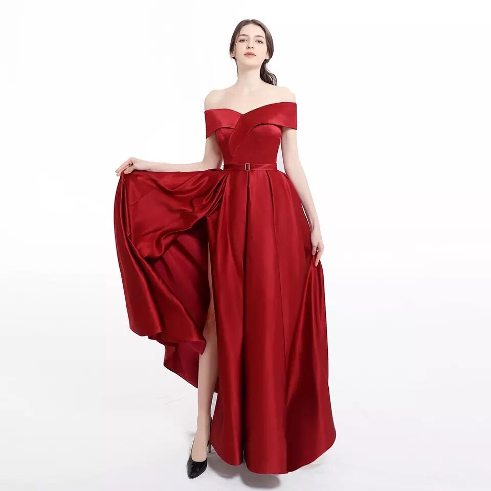 Vestido de noche rojo burdos, novedad, vestido Formal de novia, vestido de...