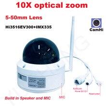 CamHi 5MP 4MP inalámbrico 10X zoom óptico velocidad cámara IP domo PTZ cámara ip de seguridad MIC altavoz onvif P2P al aire libre 5-50mm lente