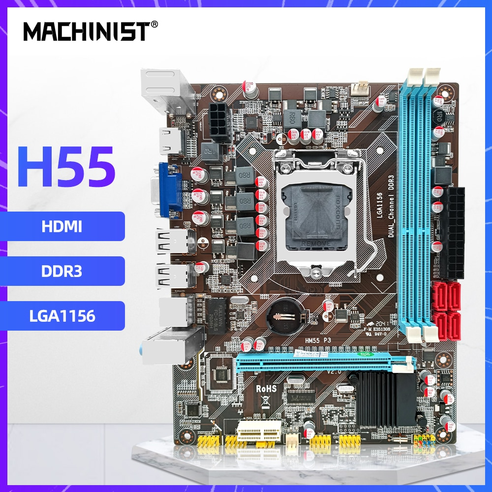 H55 اللوحة LGA 1156 دعم DDR3 ذاكرة عشوائية كور I3/I5/I7 المعالج VGA HDMI Gamer الكمبيوتر مايكرو ATX HM55-P3