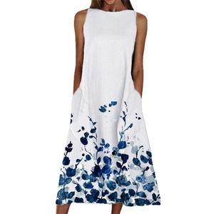 Dress Printed Loose Summer Mini Dress Sleeveless Pockets Dress for Party Slim Party Wear Women Dress Long-sleeved Long Dress