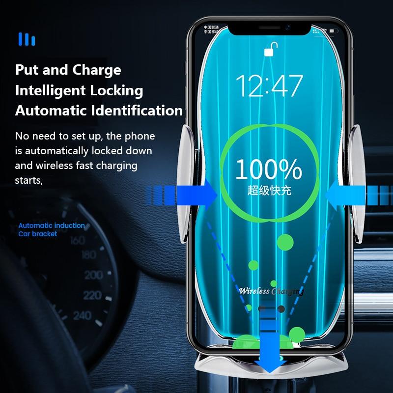 H8 Car Wireless Charger Intelligent Infrared Sensor 15W Wireless Charger Automatic Phone Wireless Charger Bracket Car Accessorie