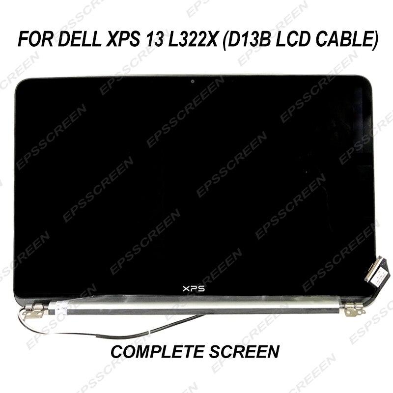 Nueva pantalla completa de 13,3 pulgadas para Dell XPS 13 L322X (Cable LCD D13B) Conjunto completo plateado pantalla LCD LED montaje reemplazo FHD