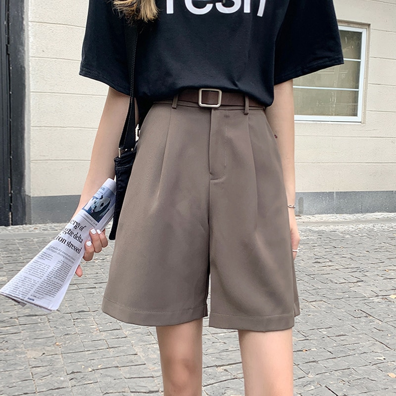 Suit Shorts Women's Summer Thin Straight Casual Capris 2021 New Loose High Waist Wide Leg Middle Pan