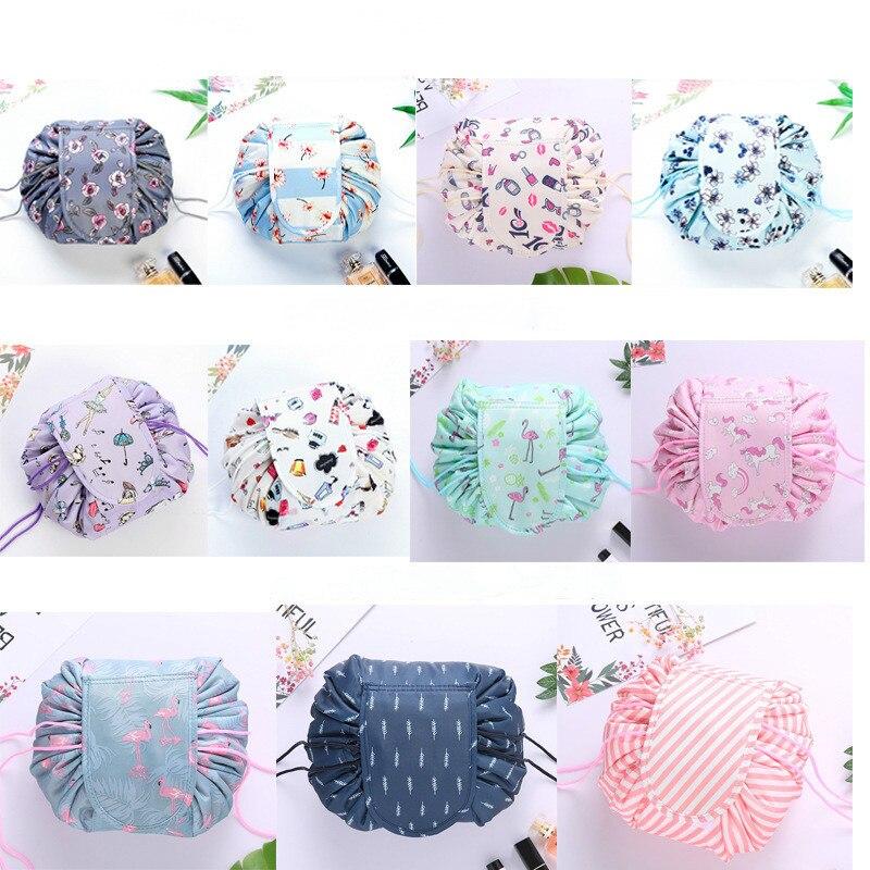 Bolsa de maquillaje de Corea, bolsa de maquillaje Lazy con cordón, organizador de cosméticos para baño, artefacto de viaje, caja de almacenamiento de moda plegable para mujeres