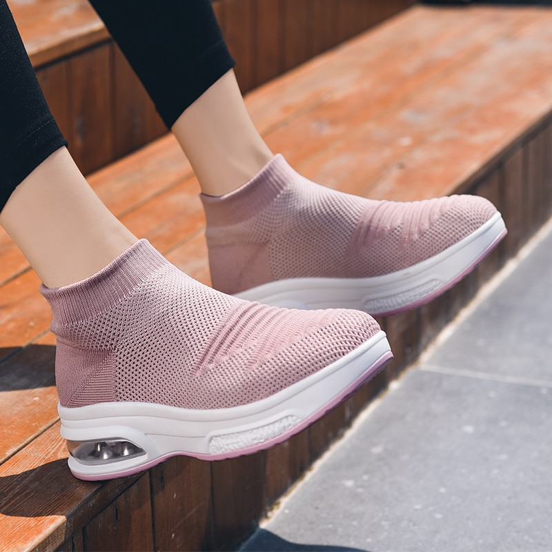 FIXSYS Mid-cut Sock Sneakers Four-color Series Lady Vulcanized Shoes Non-slip Sneakers Significantly High Woman Platform Shoes