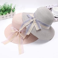 female summer new outdoor sunscreen sunshade straw cap women casual travel big brim bow beach sun hat