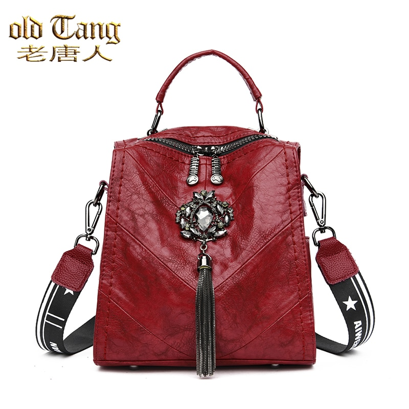 OLD TANG Fashion Casual Backpack for Women 2021 New Teenage Girls School Bag Tassels Leather Small T