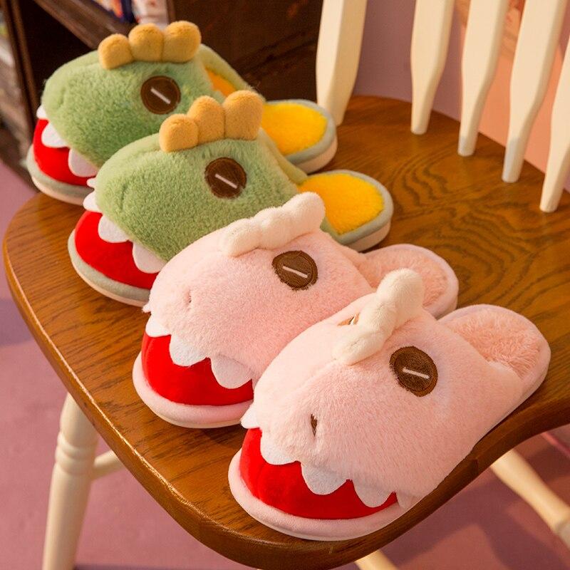 YISHEN Women Slippers Adorable Dinosaurs Warm Plush Winters Men And Women Shoes Cozy Memory Foam Bed