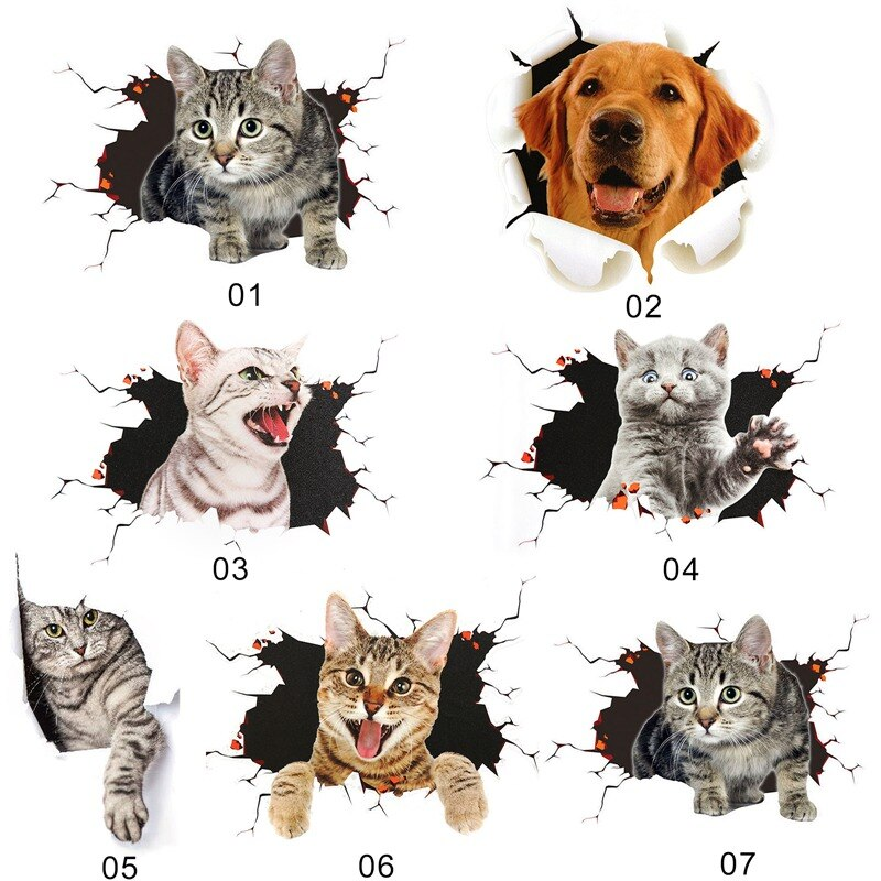 Nuevo 1 unidad de coche 3D Stereo Cat Big Dog Scratch Masking Sticker lindo adhesivo de gato para coche 3D Animal pegatina de vinilo reflectante pegatinas de coche