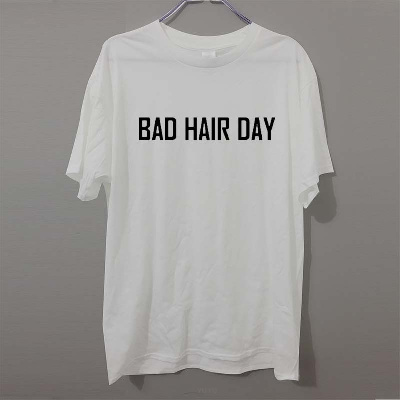 Nueva Camiseta de algodón puro con estampado de BAD HAIR DAY para hombre, camisetas divertidas de manga corta con cuello redondo para hombre, camiseta para niño a la moda