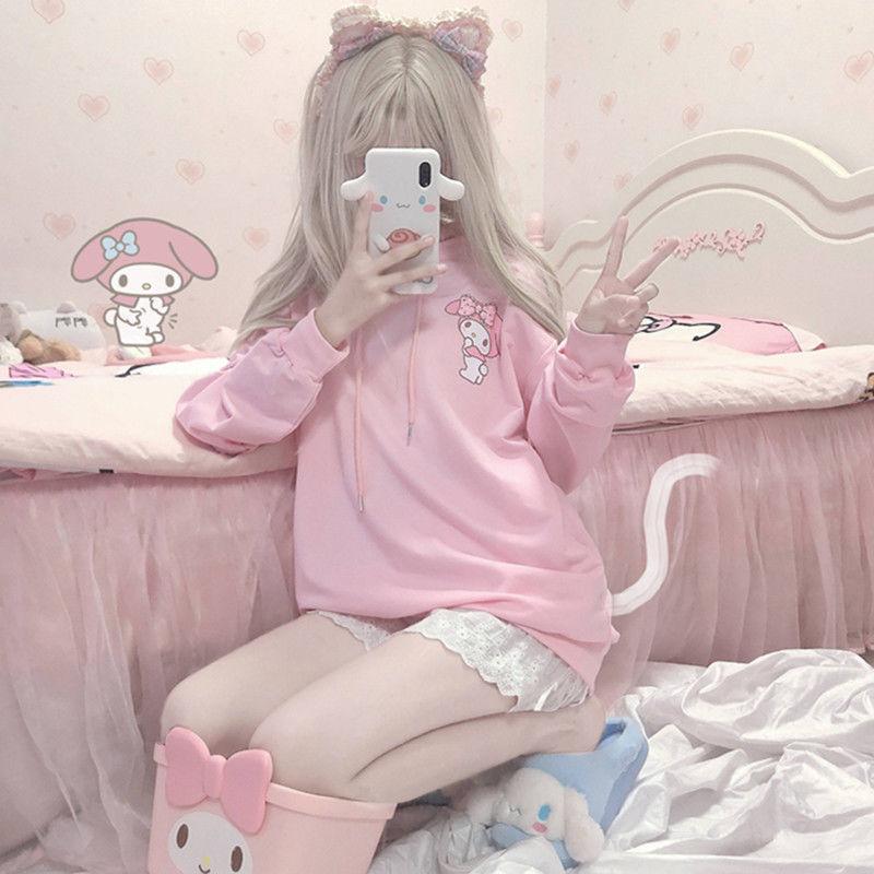 QWEEK Kuromi Anime Hoodie Women Winter 2021 Fashion Women Sweatshirt Pink Kawaii Cute Long Sleeve To