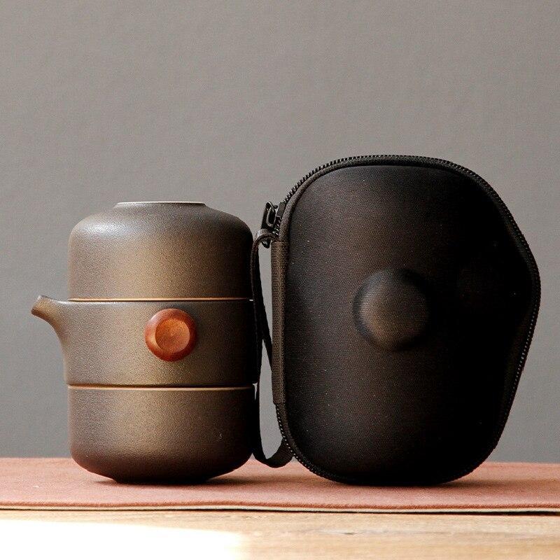 AFBC اليابانية على غرار إبريق شاي من السيراميك غطاء وعاء الشاي اليدوية المحمولة السفر طقم شاي مكتب-أسود