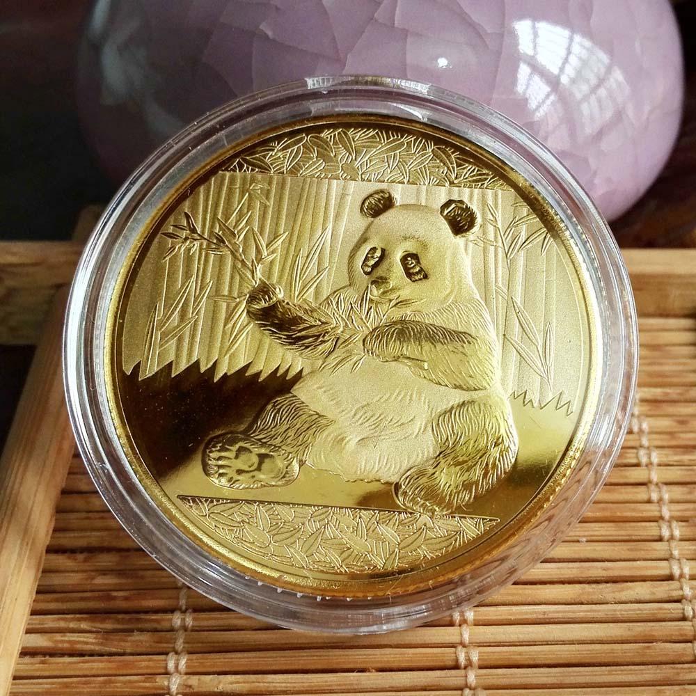 동전 큰 팬더 Baobao 중국 기념 컬렉션 아트 선물 흑백 곰 귀여운 골드 슬리버 색상