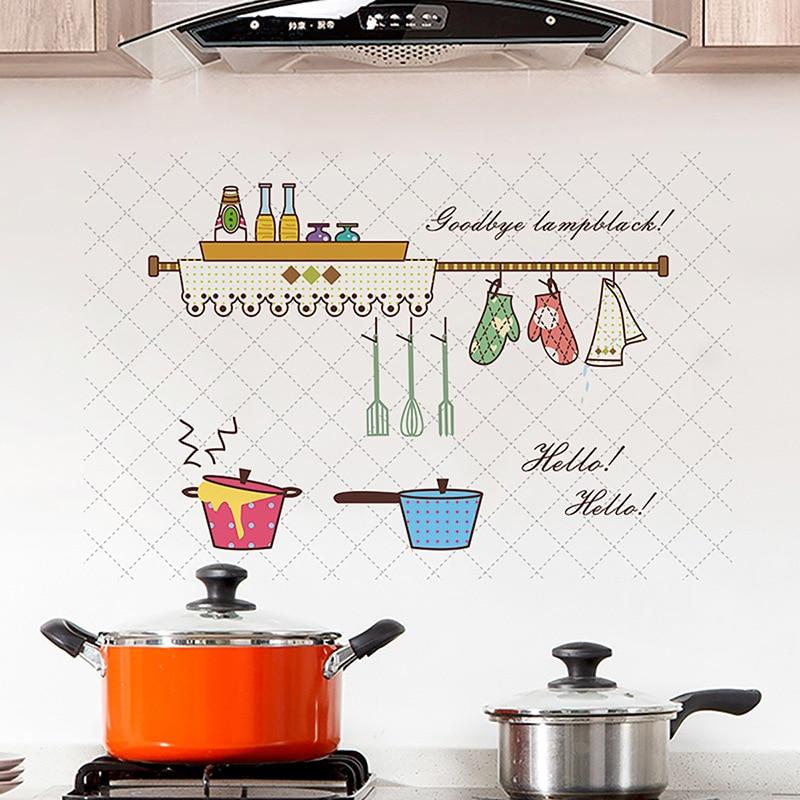 60*90cm cocina a prueba de aceite pegatinas de pared a prueba de agua seguro resistente al calor azulejo gabinete rango campana dibujos animados papel pintado pared arte calcomanía