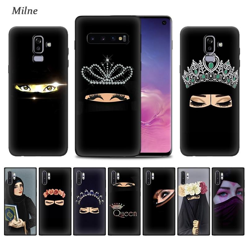 Eyes Arab Woman with Niqab Case for Samsung Galaxy S20 S10 5G S10e S9 S8 S7 Note 9 10 Plus J6 J8 2018 Soft Black Cover Phone Ta