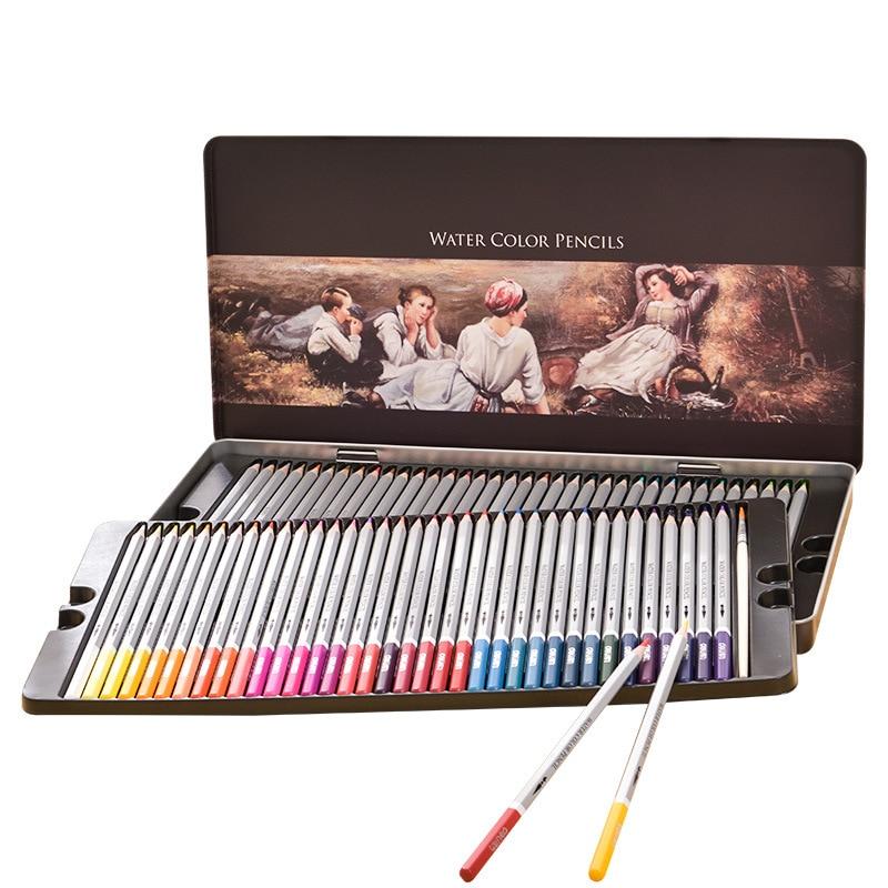 Водорастворимый цветной карандаш 24/36/48/72 цветов, цветной свинцовый цветной карандаш, ручная роспись, школьные и офисные канцелярские принад...