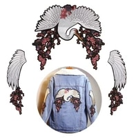 red crowned crane embroidery patches flower wings sew on t shirt jackets coats sew on fabric clothes birds eagle appliques