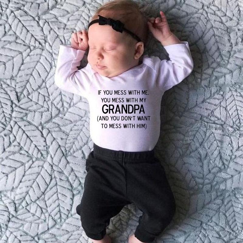 Se você mexer comigo você mexer com o meu avô nova moda recém-nascidos crianças bebê menino menina longo macacão o-pescoço manga longa