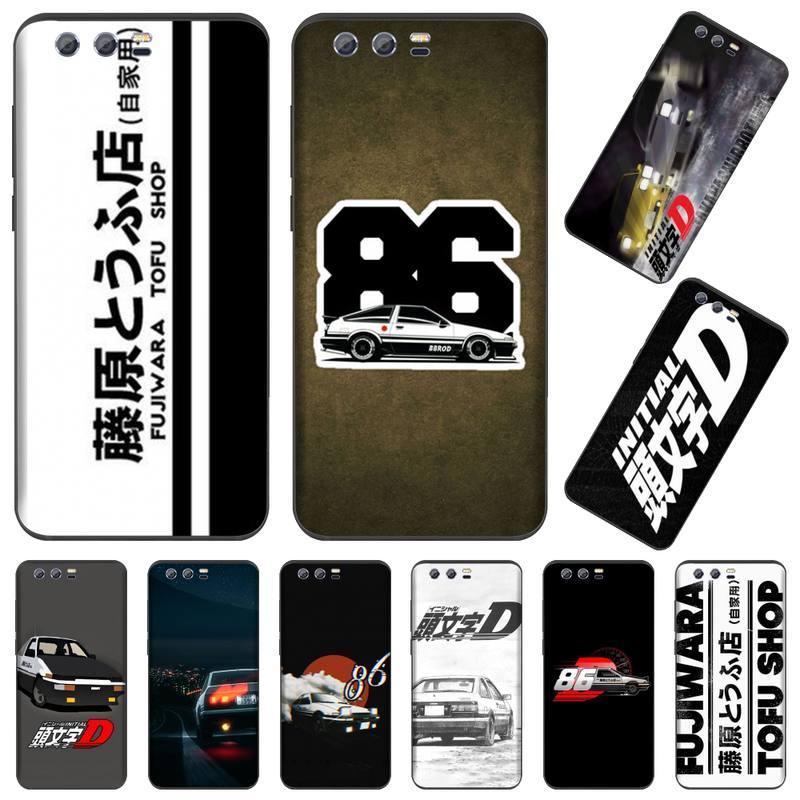 Funda de teléfono negra de anime japonés con inicial d AE86 para Huawei Honor view 7a5.45inch 7c5.7inch 8x 8a 8c 9 9x10 20 10i 20i lite pro