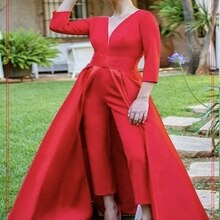 Long Pant jumpsuit,Women 3/4 sleeve Party Jumpsuits,V Neck Formal Evening Gown,Red Backless Evening