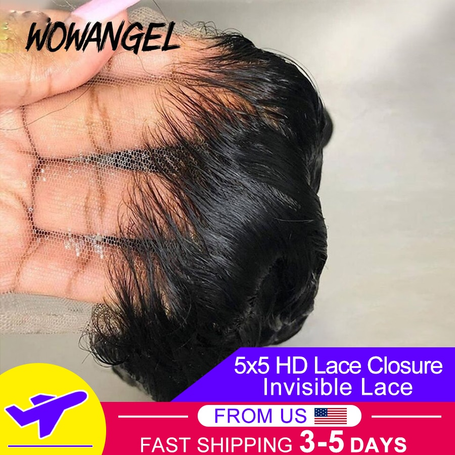 Invisible HD Lace Frontal Closure 5x5 Lace Closure With Baby Hair Straight Remy Human Hair Melt Skins HD Lace Transparent Lace