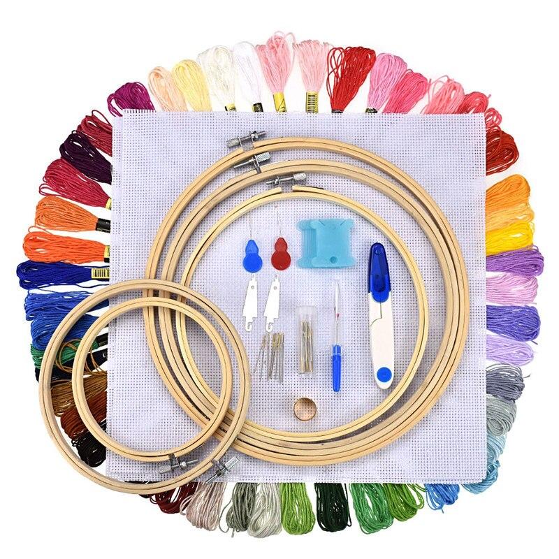El Kit de inicio del bordado incluye anillos de bambú hilo de Color tejido bordado Pin dorado Punto de Cruz juego de costura de 50 colores
