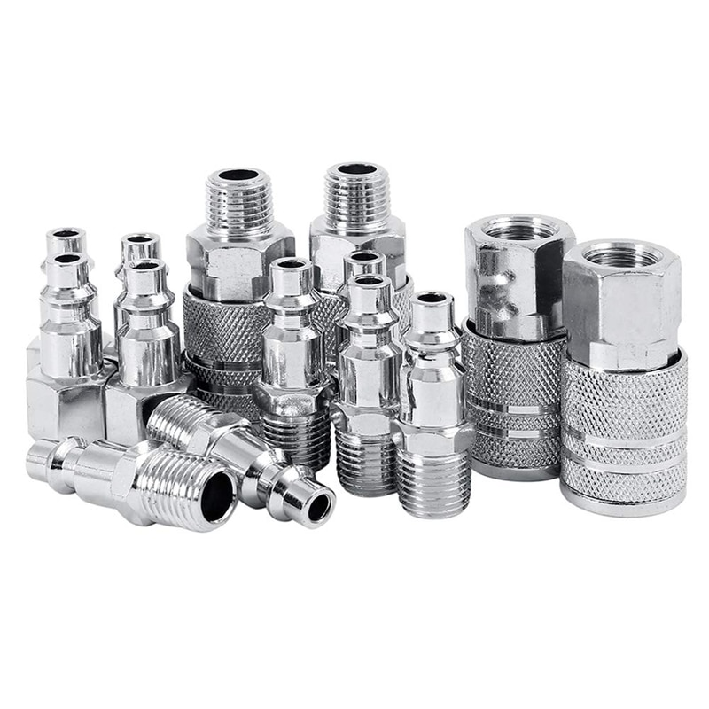 14pcs Air Line Hose Compressor Fitting 1/4 Inch Bsp Metal Connectors Coupler Male Female Quick Release Set
