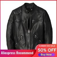 2021 black motorcycle style genuine leather jacket men plus size 5xl real thin sheepskin spring slim fit short biker coat