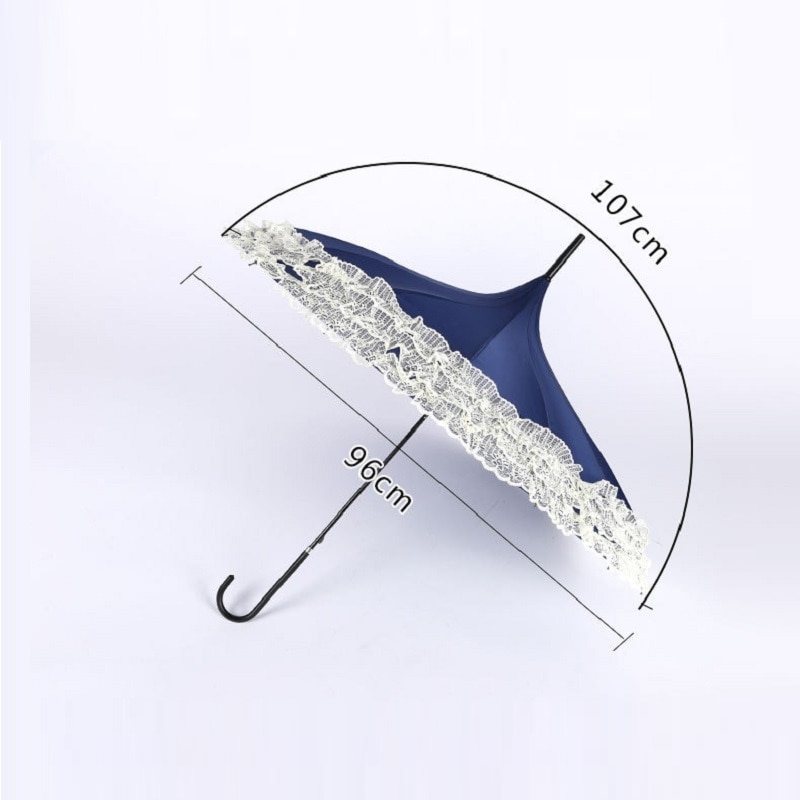 Princesa rendas pagode guarda-chuvas para barra reta semi automático alça longa gancho chuva engrenagem senhora guarda-sol unbrellas