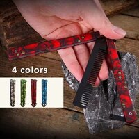 cs go practice folding pocket comb butterfly shape knife game no edge tainless steel training fixed blade edc dull tool
