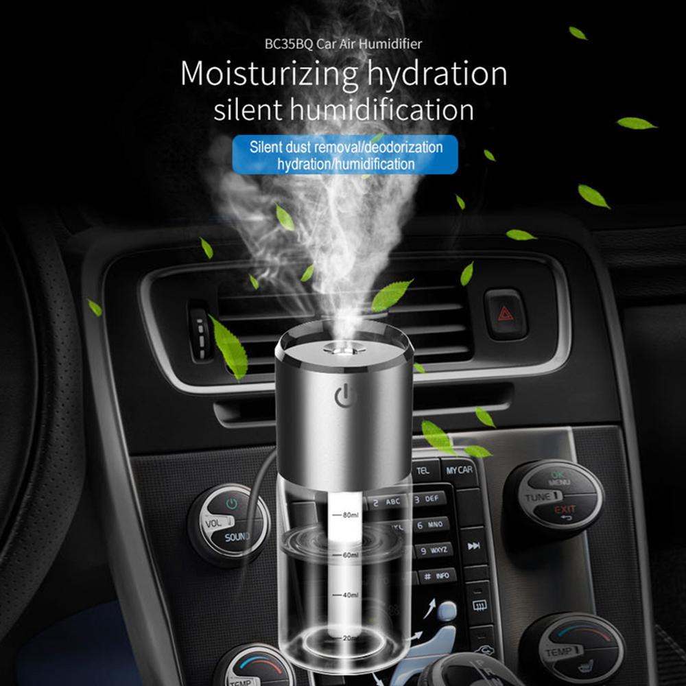 Purificador de aire para coche de 12V, humidificador de aire para aromaterapia, Cargador USB Dual portátil, humidificador de autolimpieza para uso doméstico