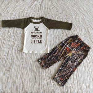 Army Green Camouglage Outfits For Baby Boys Long Sleeves T-shirts Jogger Pants Kids Sets Children Clothes Boutique Wholesale