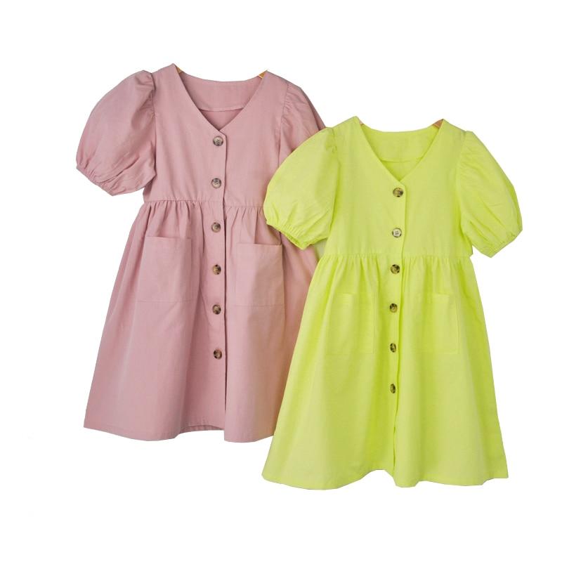 Baby Princess Dress Girls Dress Kids Summer Dress 2020 New Cotton Lantern Sleeve Mother and Me Cute Dress Retro V-neck,#5266
