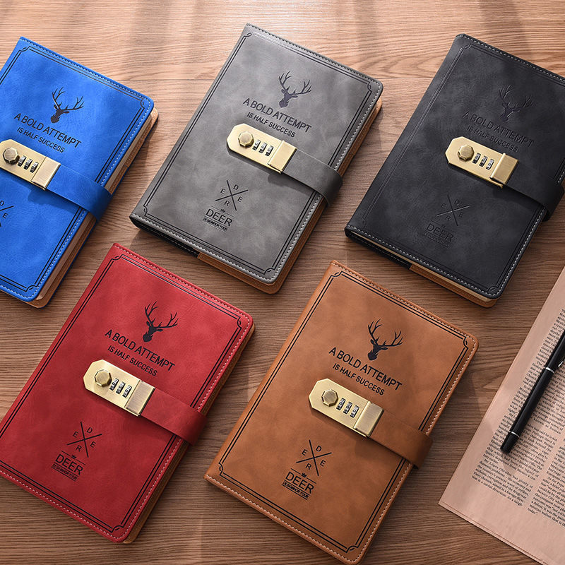 Password A5 Notebook With Lock 360Pages Writing Pads Lockable Notepad Diary School Supplies Student With Gift Pen Secret PU A5 secret notebook ruled journal lined diary with lock creative gift heart lock
