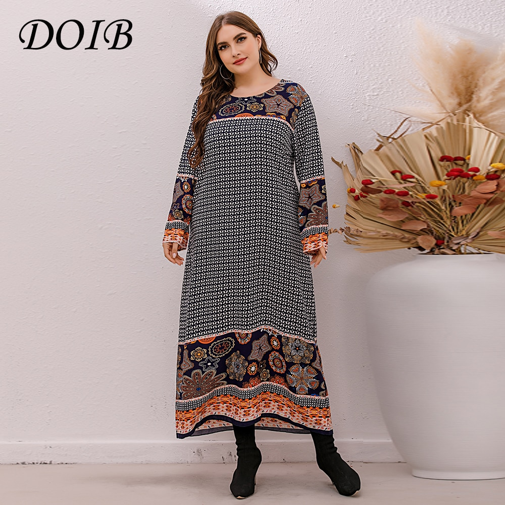 DOIB Women Plus Size Dress Print V Neck Oversize Desses Large Size Female Dress 2021 Summer Sashes S